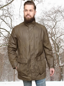 Higgs Leathers SAVE £80!  Spike   (Khaki Leather Parka jacket for men)